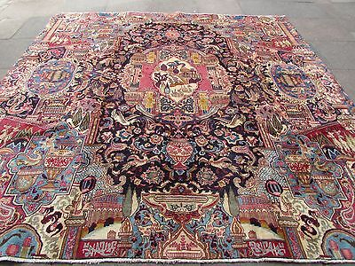 Old Hand Made Traditional Persian Oriental Wool Blue Square Big Carpet 295x298cm