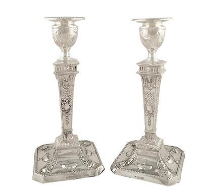 "Pair Of Antique Edwardian Sterling Silver 8"" Candlesticks - 1908"