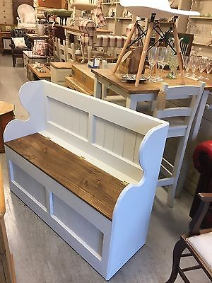 Shabby Chic Monks Bench,Pew,Seat,Chair,Vintage, Furniture Showroom In Whitstable