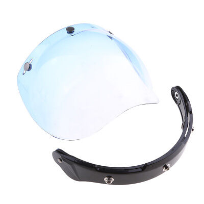 Motorcycle 3-Snap Helmet Visor Shield Flip Up Down for Harley - Blue Lens