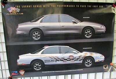 1997 Oldsmobile Aurora Indy 500 Pace Car Poster Driver Johnny Rutherford Signed