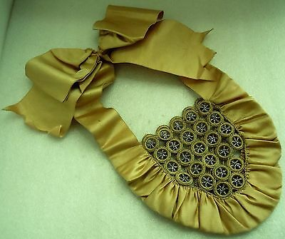 Antique Victorian Edwardian Tatting Lace, 6 Star Cut Steel Ruched Silk Purse