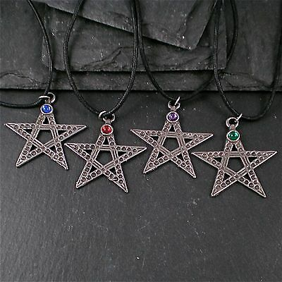 Star 5 Point with  Marble Magic Crystal 100% Pewter Black Cord Mens Womens Kids