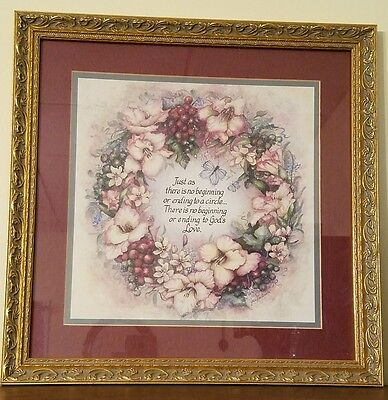 """HOME INTERIORS """"God's Love"""" Picture by Jan Anderson Floral Wreath Gold Frame"""