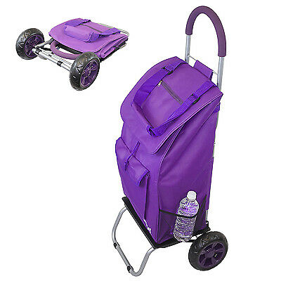 Rolling Shopping Bag Grocery Laundry Trolley Foldable Cart Tote Basket Wheels