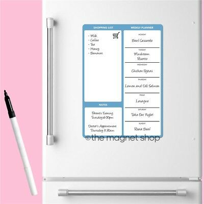 Magnetic Meal Planner Weekly Memo Whiteboard Fridge A4 Dry Wipe Family Prep Diet