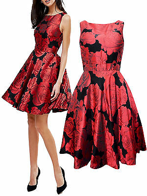 Quiz Ladies Black Red Jacquard Floral Summer Party Prom Dress Uk Size 6-18