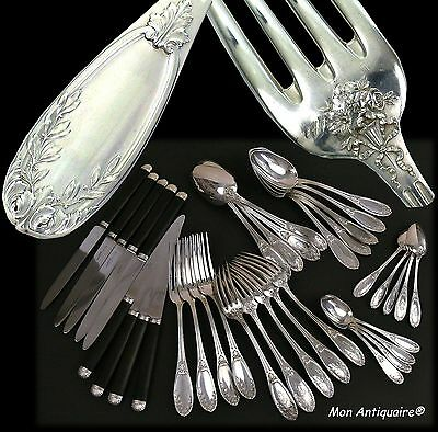Antique French Sterling Silver Flatware set 36pc Dinner Service King XVI Pattern