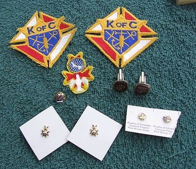 Vintage Lot of K of C Knights of Columbus Collectibles~Cuff Links~Pins~Patches