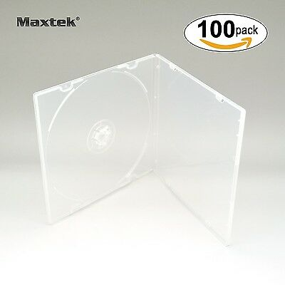Maxtek 5.2mm CD Case Slim Single Clear PP Poly Plastic Cases with Outer Sleev...