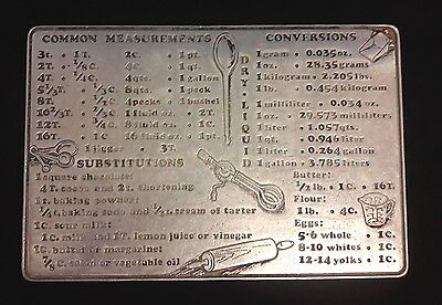 Vintage Aluminum Kitchen Trivet with Common Measurements and Conversions