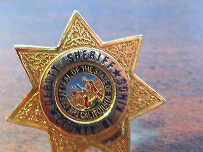 "Kings County DEPUTY SHERIFF Mini 1"" GOLD Star Badge PIN Tie Tac"