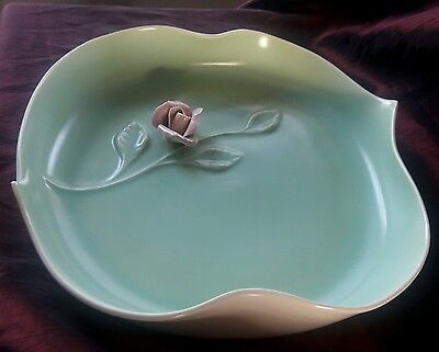 California pottery vintage bowl/tray dish with applied rose