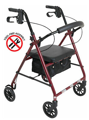 Cardinal BURGUNDY ROLLATOR Rolling Medical Walker w/ Curved Back Soft Seat