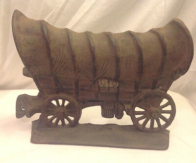 Vintage Covered Chuck Wagon Door Stop Cast Iron Very Heavy 6 Pounds Western