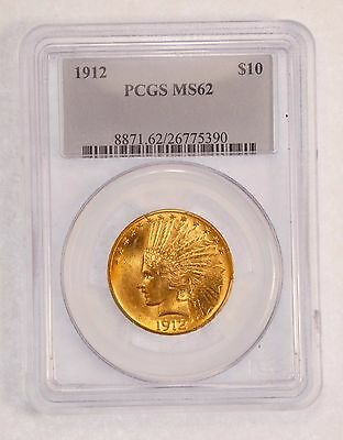 1912 GOLD Indian Head Eagle $10 Coin CERTIFIED PCGS MS 62