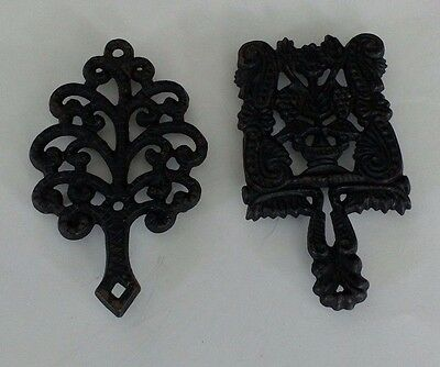 Set of 2 Cast Iron Trivets Tree Grape Black Collectible Decorative Small