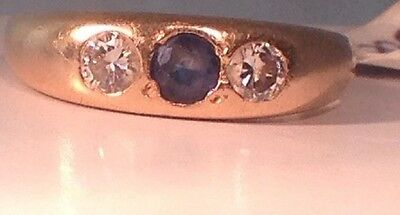 Ladies Natural Diamond and Blue Sapphire ring 14k Yellow Gold