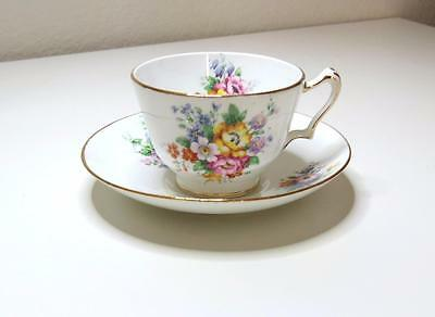 Vintage Crown Staffordshire Footed Cup And Saucer Set 1551L Floral Spray Gold Tr