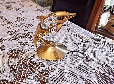 """Mascot Dolphin Figurine 3-1/2"""" Austrian Crystal Delight  24K Gold Plated"""