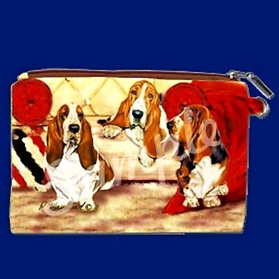 BASSET HOUND Zippered Pouch by Maystead / full color both sides / NEW