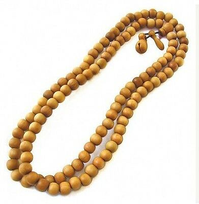Tibetan 108 8x7mm Peach Wood Yoga Meditation Buddhist Prayer Beads Mala Necklace
