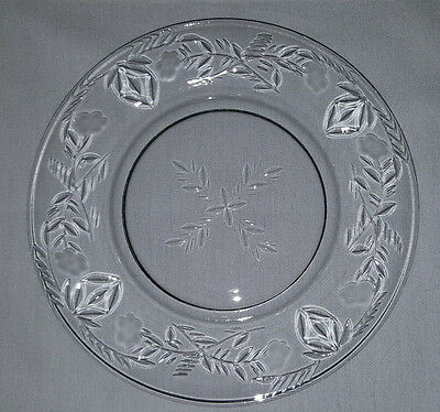 """Set of 8 ... Vintage 7-1/2"""" Round Frosted/Etched/Cut Glass Plates w Floral Motif"""