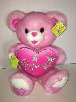 "2010 Dan Dee Princess Heart Pink 20"" Plush Sweetheart Teddy Bear Stuffed Animal"