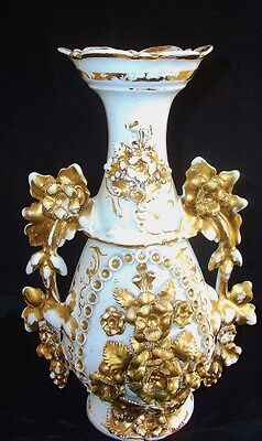 French Old Paris Porcelain Ornate Gilt Vase  circa 1850.