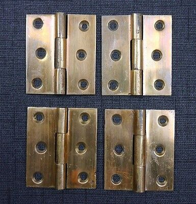 "Antique Vintage Cast Brass Cabinet Hinges Lot of (4) 1850's 2"" X 1-3/4"" Lot A"