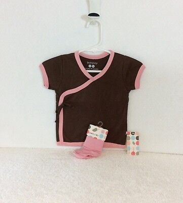 65% Off! 5 New All Natural BabySoy Brown and Pink Girl Kimono Tee and Sock Sets