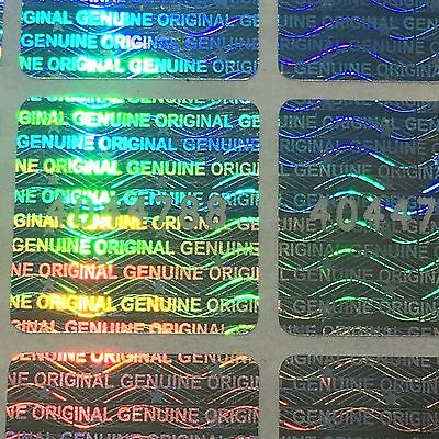 100 Hologram Labels Unique Serial Numbers, Warranty Seals Sticker Square18x18 mm