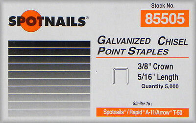 "Spotnails 85505 20 Gauge 5/16"" Leg x 3/8"" Medium Crown Fine Wire Staples 5,000"