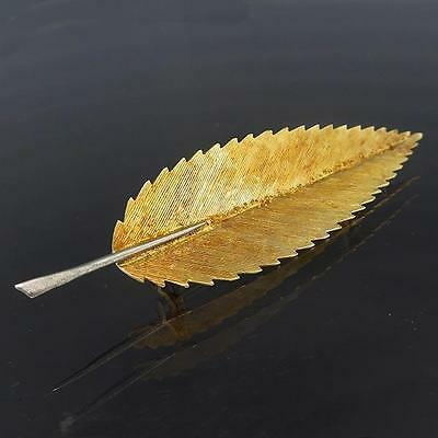 Hand Crafted & Finely Detailed Sweet Chestnut 18K Solid Yellow GOLD LEAF BROOCH