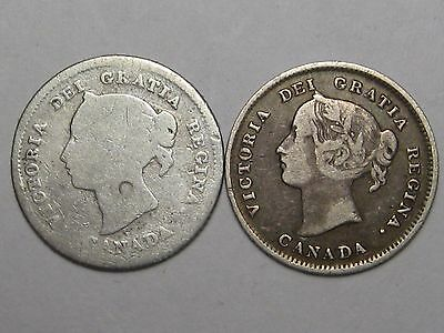 2 Victoria Silver Canadian 5 Cent Coins: 1880-H & 1899.  #6