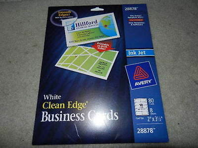 New Avery White Clean Edge Business Card - 28878 Ink Jet 90 Cards/ 9 sheets