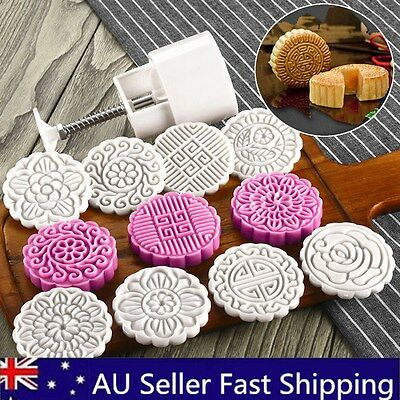 100g 8 Flower Stamps Round Pastry Moon Cake Mold Mould Cookies Mooncake Decor AU