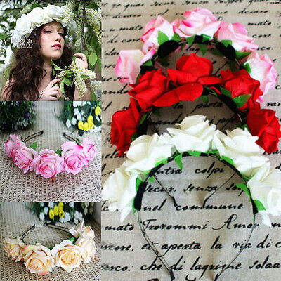 AU Wedding Party Crown Floral Flower Hair Band Hair Garland Headband Wreath