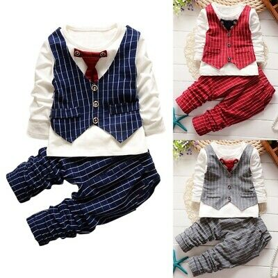 AU Toddler Baby Boy Formal Suit Top+ Long Pant Gentleman Set Clothes Outfits 2Pc