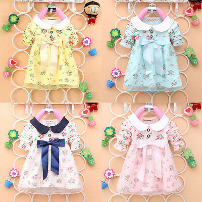AU Baby Girl Floral Bowknot Princess Dress Kids Tulle Formal Party Tutu Dresses