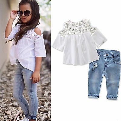 4eb9e35ec283 KIDS BABY GIRLS Outfits Set Tank Top T-shirt Dress+Jeans Pants ...