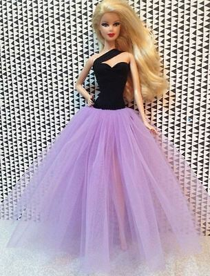 Fashion Purple Gauze Skirt  Evening Dress Outfit Gown For 11.5in.Doll
