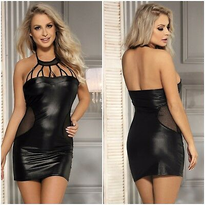 Women's Plus Size Black Faux Leather Mini Halter Neck Chemise Lingerie Dress