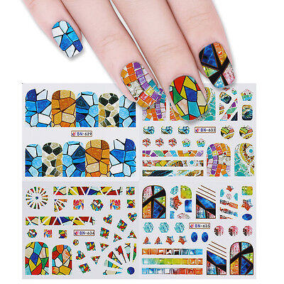 12 Patterns Water Decals Colorful Geometry Manicure Nail Transfer Stickers Tips