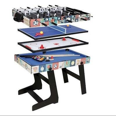 4ft Folding Foosball Hockey Table Tennis Pool Table Kids Gift 4 in 1 Game Table