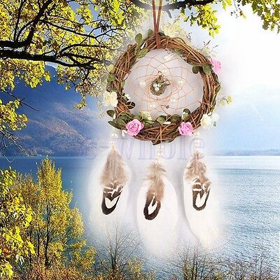 Fresh Style Dream Catcher With Flowers Wind Chimes Girls Room Hanging Pendant EW