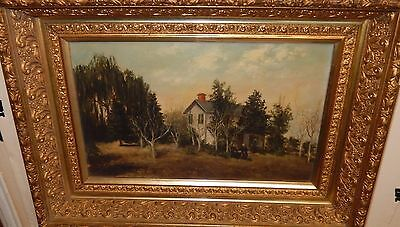 A.s.m. Old 19Th Century Hudson River Landscape Scene Oil On Canvas Painting