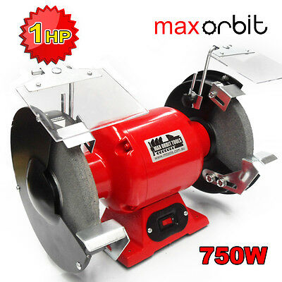 "200mm 8"" Bench Grinder 240V 750W 1HP Motor, Fine & Coarse Wheels Polisher"