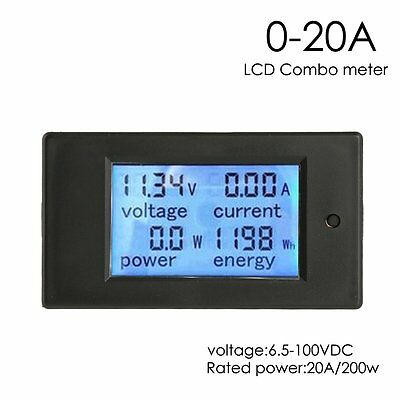 DC 20A LCD Volt Current KWh Watt Panel Power Meter Ammeter Voltmeter Multimeter