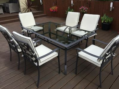 Lucca Leaf -  6 Seater Rectangular Metal and Glass Garden Table. (TABLE ONLY)